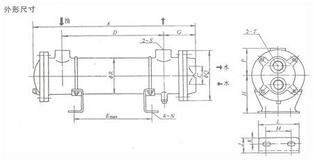 SL管式冷却器外形尺寸示意图